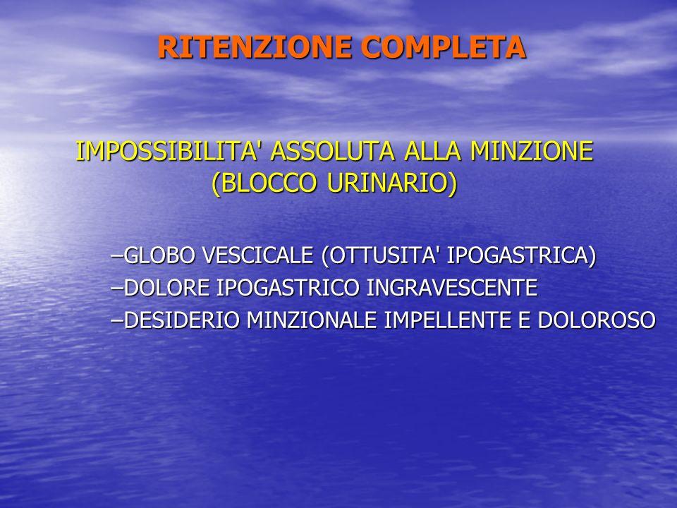 RITENZIONE COMPLETA IMPOSSIBILITA' ASSOLUTA ALLA MINZIONE (BLOCCO URINARIO) –GLOBO VESCICALE (OTTUSITA' IPOGASTRICA) –DOLORE IPOGASTRICO INGRAVESCENTE