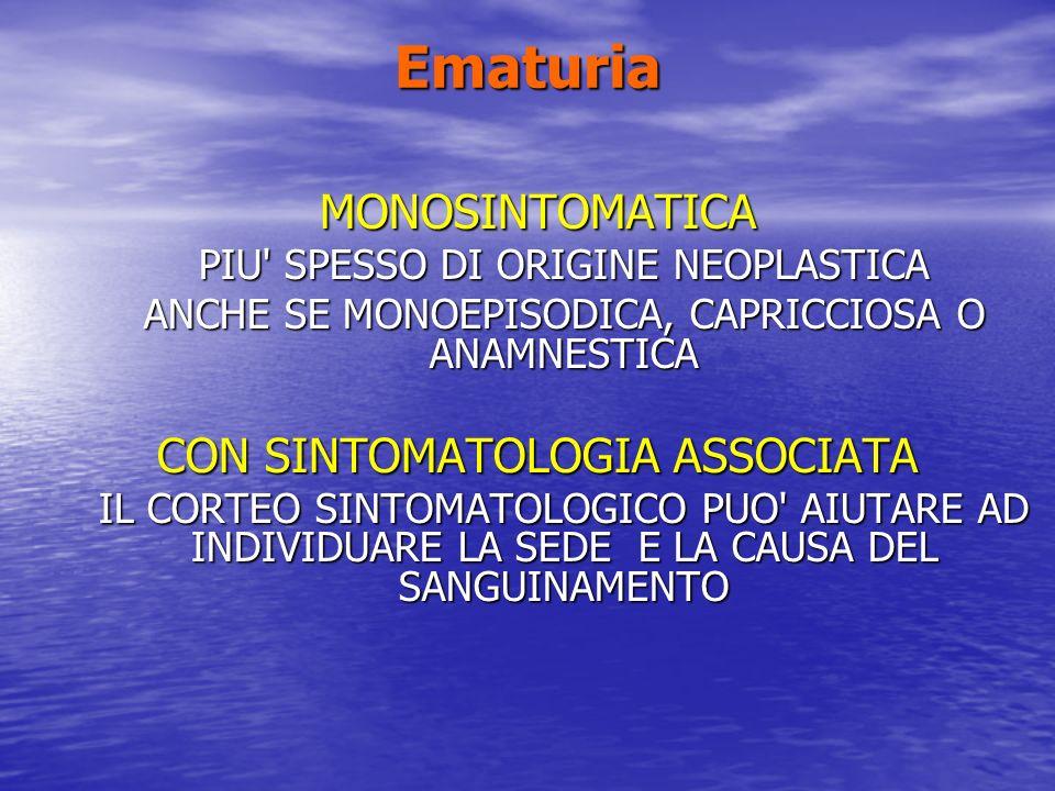 Ematuria MONOSINTOMATICA PIU' SPESSO DI ORIGINE NEOPLASTICA ANCHE SE MONOEPISODICA, CAPRICCIOSA O ANAMNESTICA CON SINTOMATOLOGIA ASSOCIATA IL CORTEO S