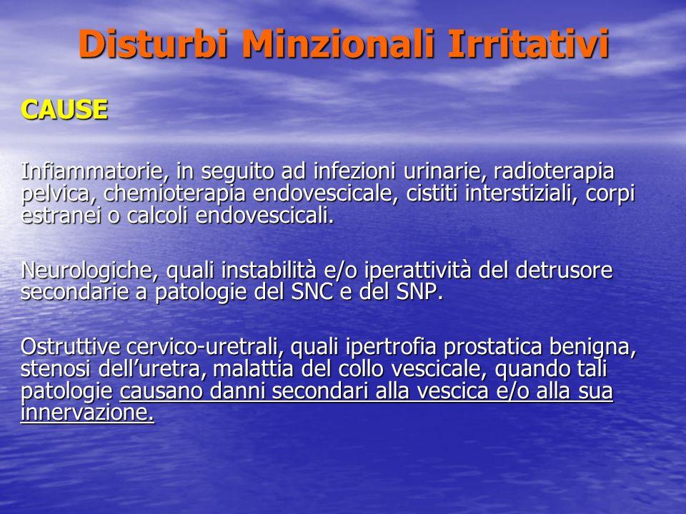 Disturbi Minzionali Irritativi CAUSE Infiammatorie, in seguito ad infezioni urinarie, radioterapia pelvica, chemioterapia endovescicale, cistiti inter