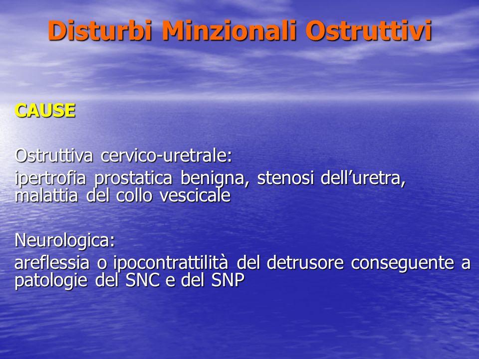 Disturbi Minzionali Ostruttivi CAUSE Ostruttiva cervico-uretrale: ipertrofia prostatica benigna, stenosi delluretra, malattia del collo vescicale Neur