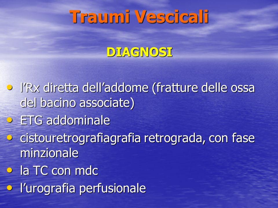Traumi Vescicali DIAGNOSI lRx diretta delladdome (fratture delle ossa del bacino associate) lRx diretta delladdome (fratture delle ossa del bacino associate) ETG addominale ETG addominale cistouretrografiagrafia retrograda, con fase minzionale cistouretrografiagrafia retrograda, con fase minzionale la TC con mdc la TC con mdc lurografia perfusionale lurografia perfusionale