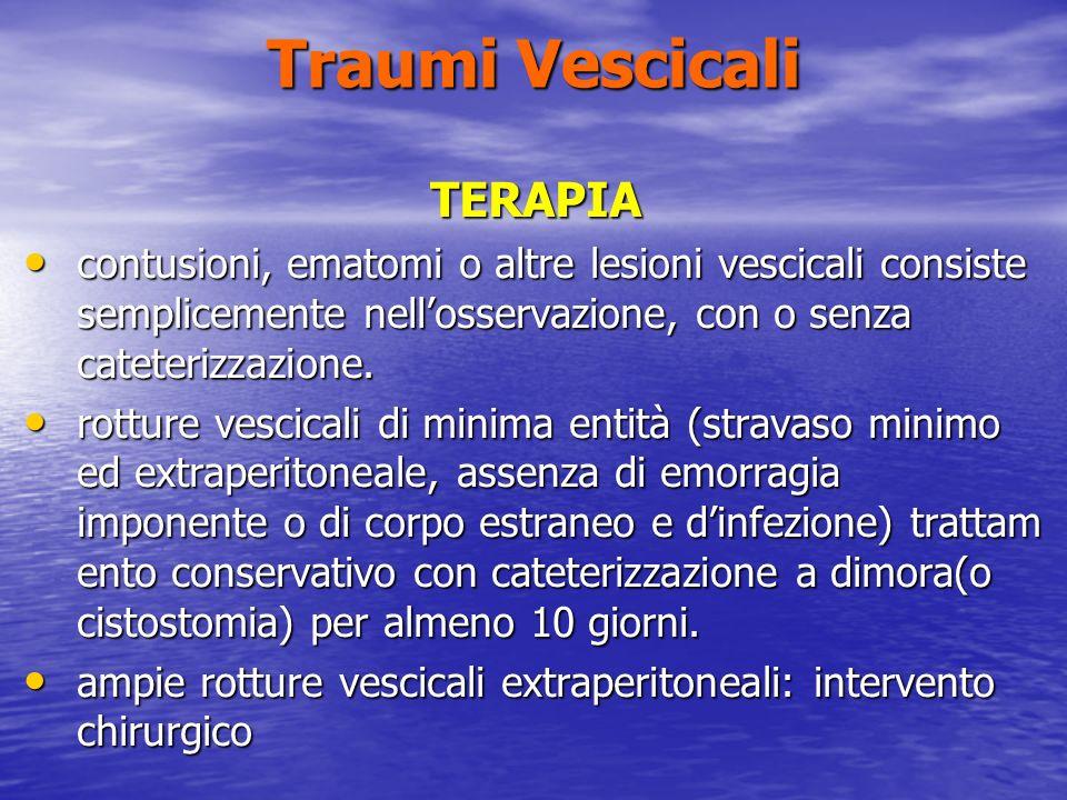 Traumi Vescicali TERAPIA contusioni, ematomi o altre lesioni vescicali consiste semplicemente nellosservazione, con o senza cateterizzazione.