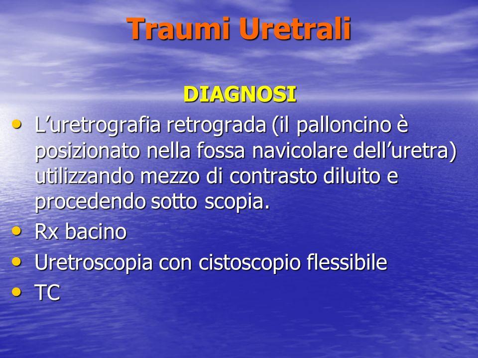 Traumi Uretrali DIAGNOSI Luretrografia retrograda (il palloncino è posizionato nella fossa navicolare delluretra) utilizzando mezzo di contrasto diluito e procedendo sotto scopia.