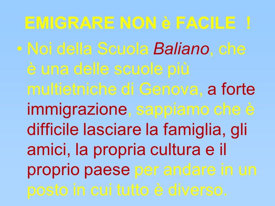 EMIGRARE NON è FACILE ! Noi della Scuola Baliano, che è una delle scuole più multietniche di Genova, a forte immigrazione, sappiamo che è difficile la
