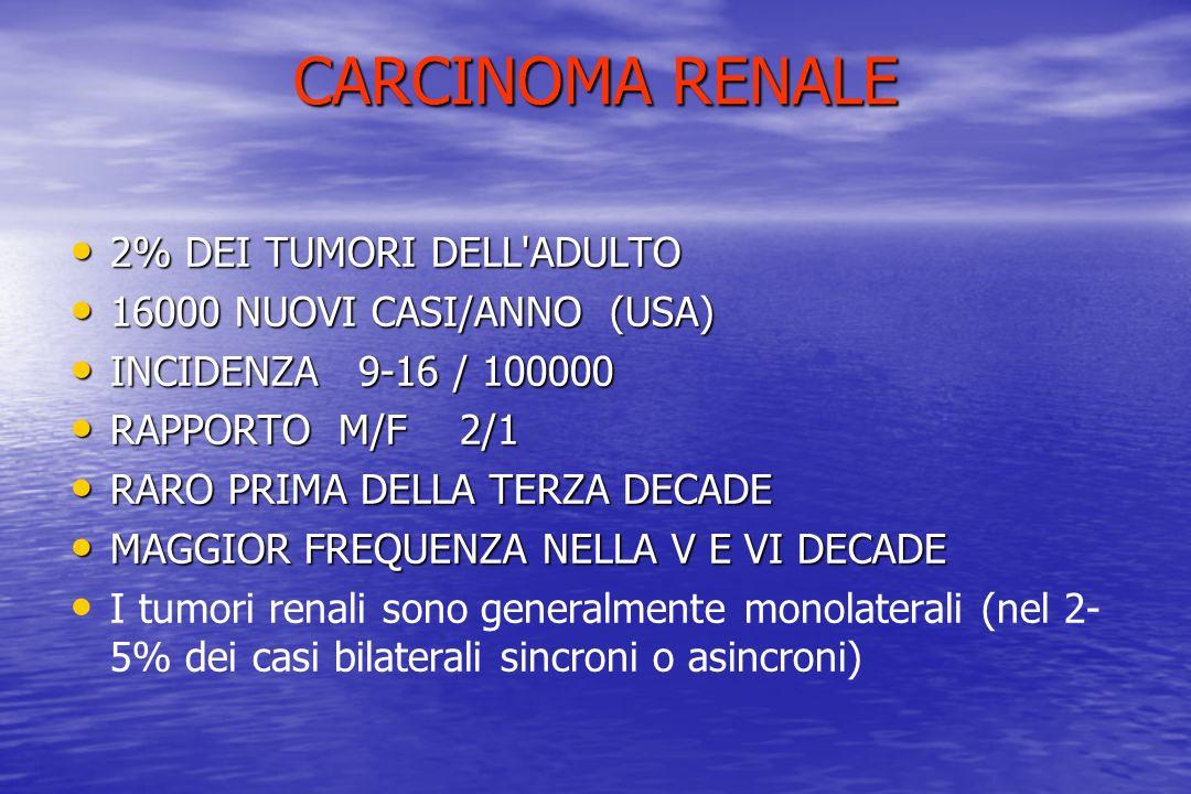 CARCINOMA RENALE 2% DEI TUMORI DELL'ADULTO 2% DEI TUMORI DELL'ADULTO 16000 NUOVI CASI/ANNO (USA) 16000 NUOVI CASI/ANNO (USA) INCIDENZA 9-16 / 100000 I