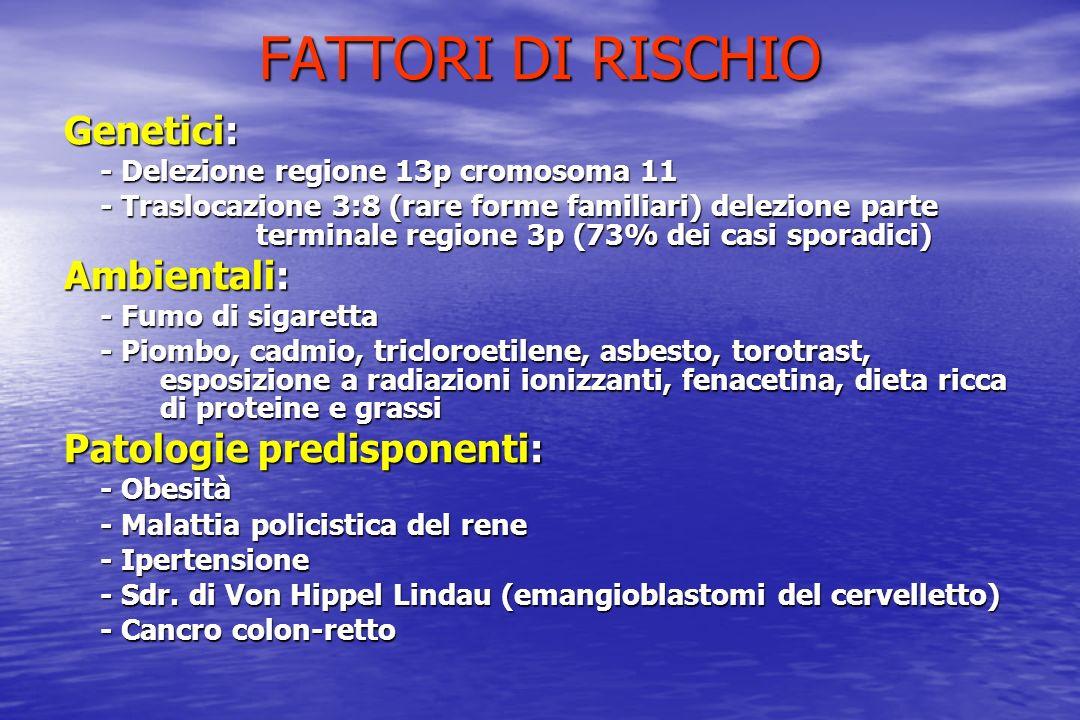 FATTORI DI RISCHIO Genetici: - Delezione regione 13p cromosoma 11 - Traslocazione 3:8 (rare forme familiari) delezione parte terminale regione 3p (73%