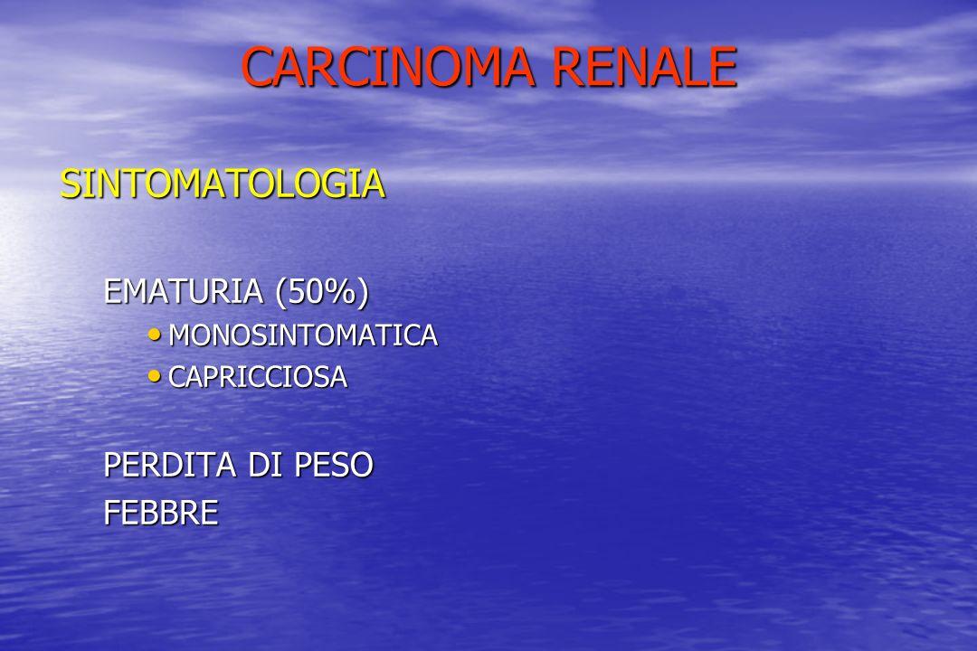 CARCINOMA RENALE SINTOMATOLOGIA EMATURIA (50%) MONOSINTOMATICA MONOSINTOMATICA CAPRICCIOSA CAPRICCIOSA PERDITA DI PESO FEBBRE