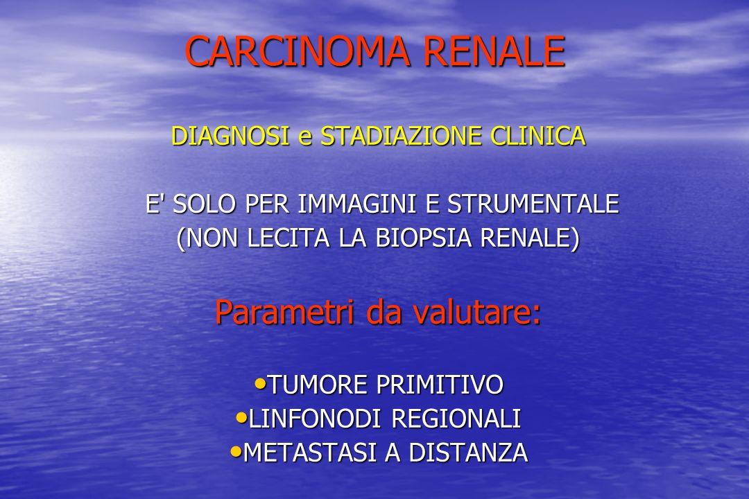CARCINOMA RENALE DIAGNOSI e STADIAZIONE CLINICA E' SOLO PER IMMAGINI E STRUMENTALE E' SOLO PER IMMAGINI E STRUMENTALE (NON LECITA LA BIOPSIA RENALE) P