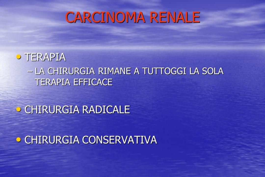 CARCINOMA RENALE TERAPIA TERAPIA –LA CHIRURGIA RIMANE A TUTTOGGI LA SOLA TERAPIA EFFICACE CHIRURGIA RADICALE CHIRURGIA RADICALE CHIRURGIA CONSERVATIVA