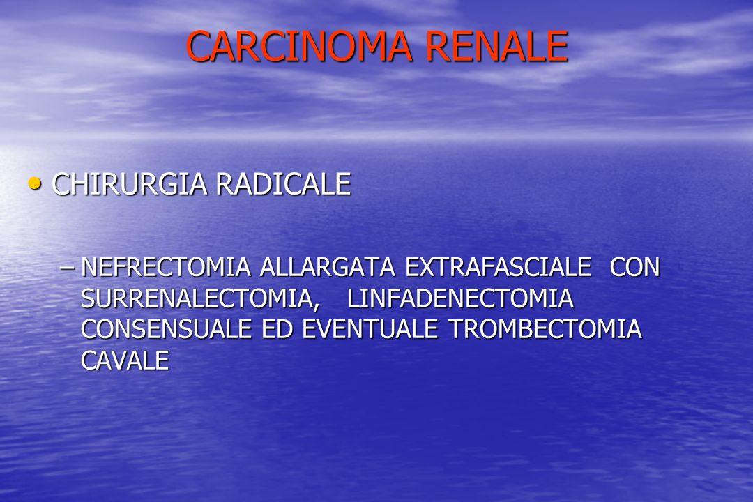 CARCINOMA RENALE CHIRURGIA RADICALE CHIRURGIA RADICALE –NEFRECTOMIA ALLARGATA EXTRAFASCIALE CON SURRENALECTOMIA, LINFADENECTOMIA CONSENSUALE ED EVENTU