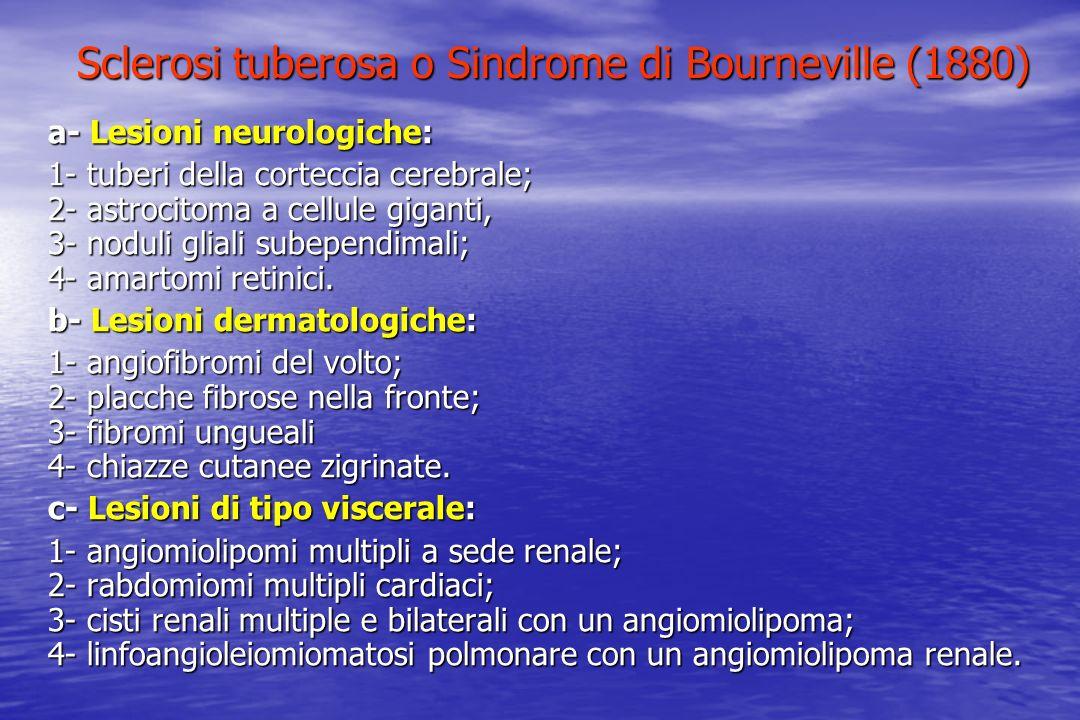 Sclerosi tuberosa o Sindrome di Bourneville (1880) a- Lesioni neurologiche: 1- tuberi della corteccia cerebrale; 2- astrocitoma a cellule giganti, 3-