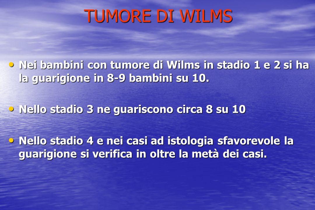 TUMORE DI WILMS Nei bambini con tumore di Wilms in stadio 1 e 2 si ha la guarigione in 8-9 bambini su 10. Nei bambini con tumore di Wilms in stadio 1