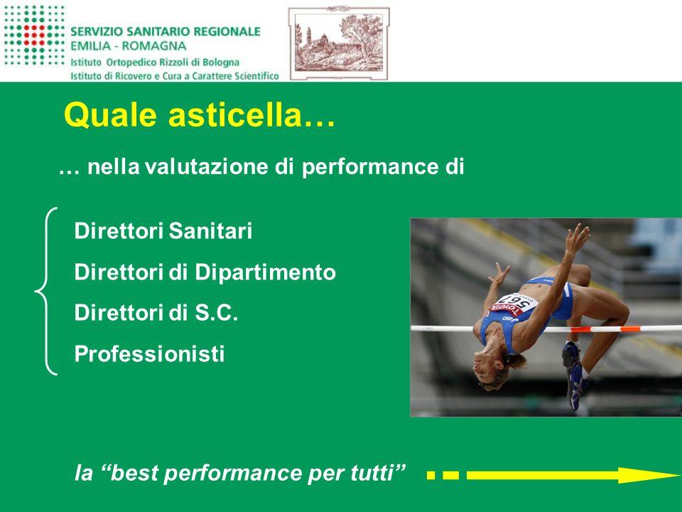 … nella valutazione di performance di Quale asticella… Direttori Sanitari Direttori di Dipartimento Direttori di S.C. Professionisti la best performan