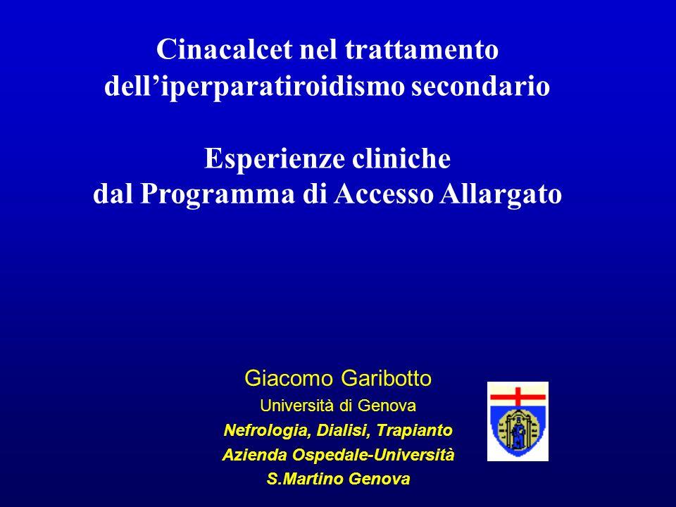 PTH Ca P Ca x P Il Cinacalcet agisce come mediatore allosterico del recettore per il Calcio, aumentandone la sensibilità al Ca plasmatico, riducendo contemporaneamente: INTRODUZIONE