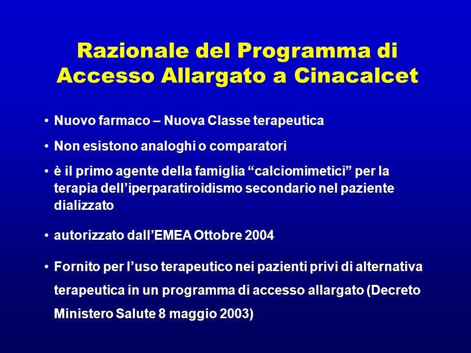 Razionale del Programma di Accesso Allargato a Cinacalcet Nuovo farmaco – Nuova Classe terapeutica Non esistono analoghi o comparatori è il primo agen