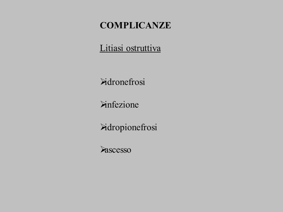 Idronefrosi ed idroureteronefrosi da causa estrinseca (neoplasie, fibrosi retroperitoneale, endometriosi, ipertrofia prostatica, iatrogene, vasi anomali, gravidanza) da causa intrinseca (litiasi, neoplasie, coaguli, stenosi) OstruttivaNon ostruttiva (infiammatorie, neurogene, malattia del giunto congenita) AcutaCronica