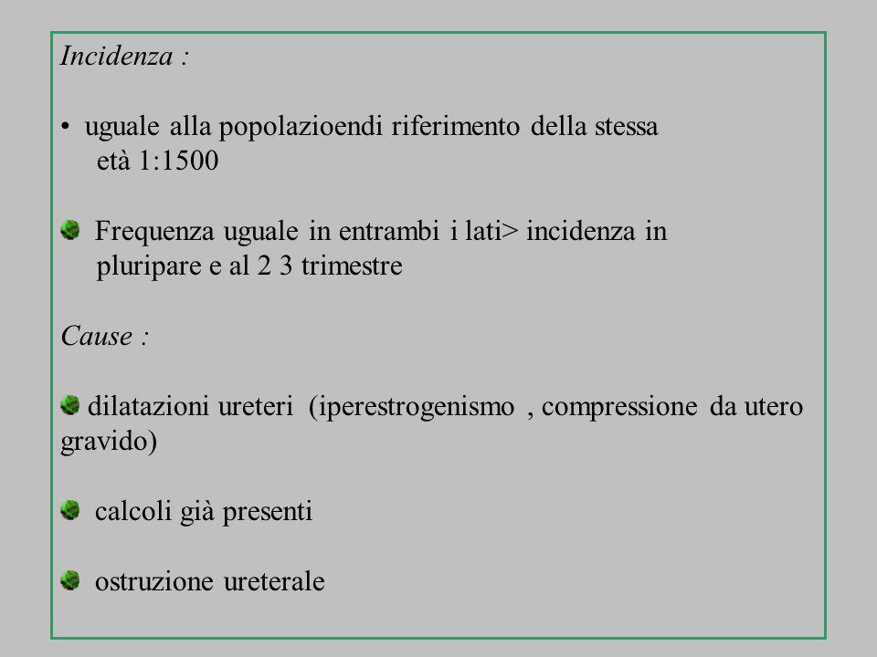 Incidenza : uguale alla popolazioendi riferimento della stessa età 1:1500 Frequenza uguale in entrambi i lati> incidenza in pluripare e al 2 3 trimest