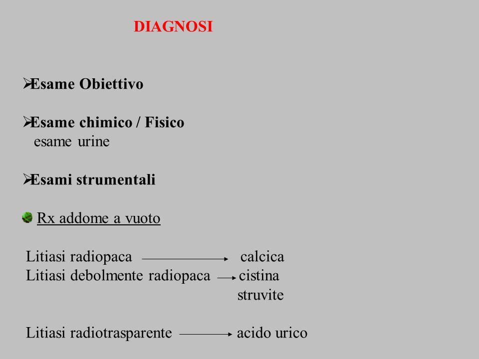 DIAGNOSI Esame Obiettivo Esame chimico / Fisico esame urine Esami strumentali Rx addome a vuoto Litiasi radiopaca calcica Litiasi debolmente radiopaca