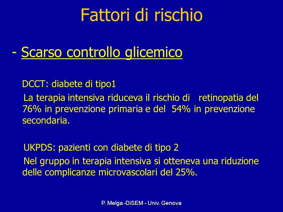 P. Melga -DiSEM - Univ. Genova Fattori di rischio - Durata della malattia ( Il più forte predittore per lo sviluppo e la progressione della RD) DIABET