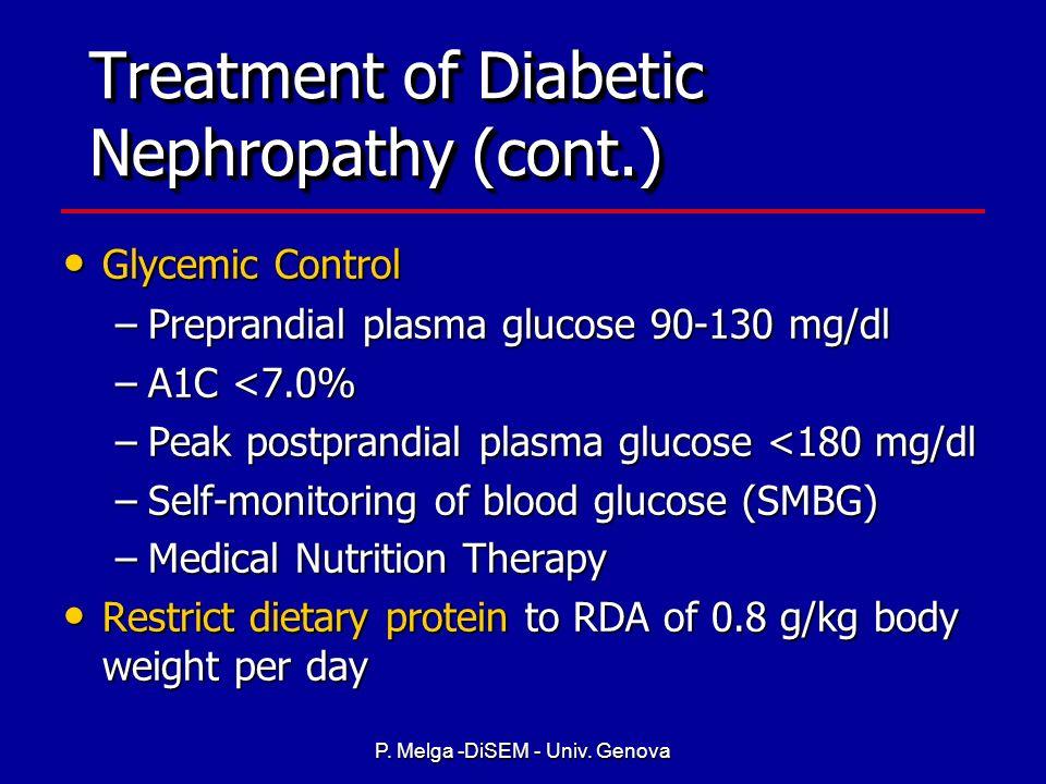 P. Melga -DiSEM - Univ. Genova Treatment of Diabetic Nephropathy Hypertension Control - Goal: lower blood pressure to <130/80 mmHg Hypertension Contro