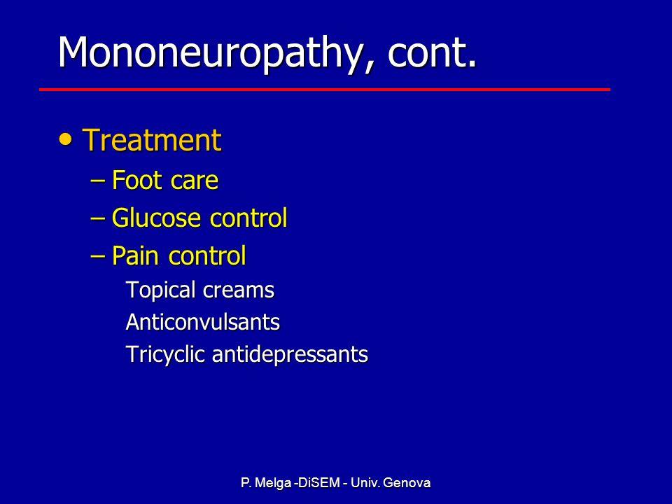 P. Melga -DiSEM - Univ. GenovaMononeuropathy Peripheral mononeuropathy Peripheral mononeuropathy –Single nerve damage due to compression or ischemia –