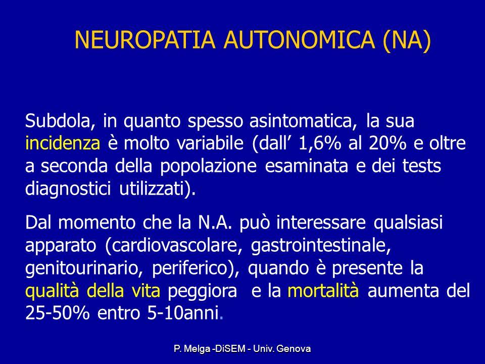 P. Melga -DiSEM - Univ. Genova Autonomic neuropathy Affects the autonomic nerves controlling internal organs Affects the autonomic nerves controlling