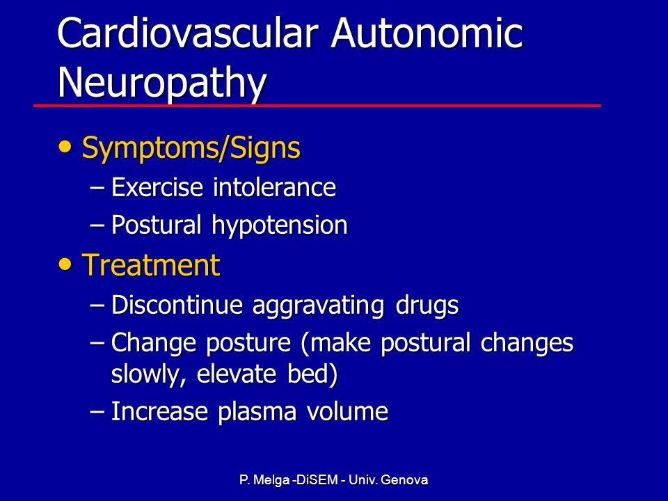 P. Melga -DiSEM - Univ. Genova NEUROPATIA AUTONOMICA CARDIOVASCOLARE La neuropatia autonomica cardiovascolare (CAN) è la forma più studiata, e associa