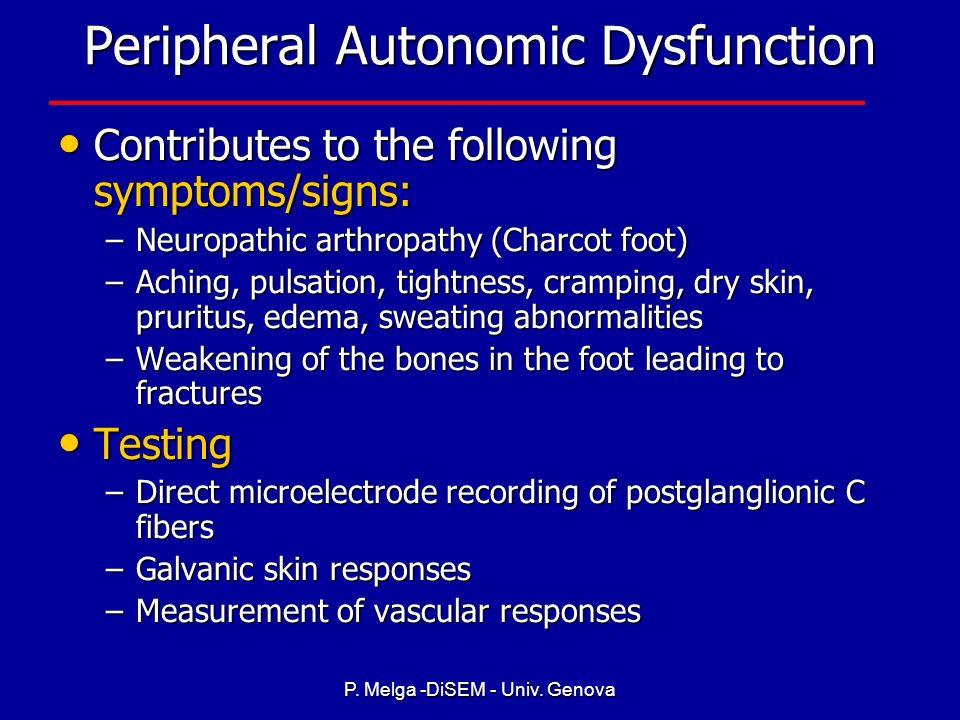 P. Melga -DiSEM - Univ. Genova Gastrointestinal Autonomic Neuropathy Symptoms/Signs Symptoms/Signs –Gastroparesis resulting in anorexia, nausea, vomit