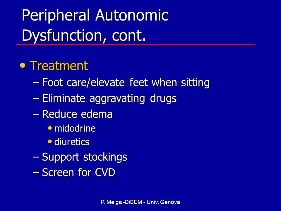P. Melga -DiSEM - Univ. Genova Peripheral Autonomic Dysfunction Contributes to the following symptoms/signs: Contributes to the following symptoms/sig