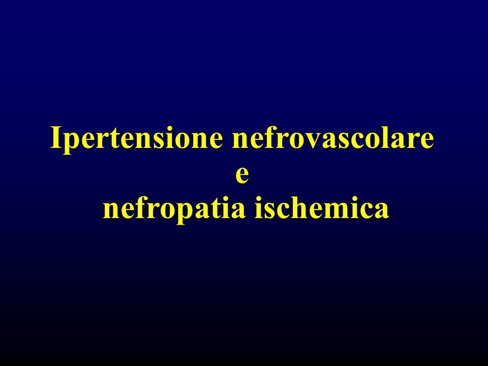 Prevalenza e storia naturale delle stenosi dellarteria renale STENOSI ARTERIA RENALE 10% FIBRODISPLASTICA >f ; 20-40aa ; 2/3 distale 90% ATEROSCLEROTICA >m ; >50aa ; diabetici;ats diffusa; ostiale e 1/3 prossimale 90% MEDIA 10% INTIMA e AVVENTIZIA 30%progressione 100%progressione 50% stenosi progressiva in 5 aa (10% occlusione completa)