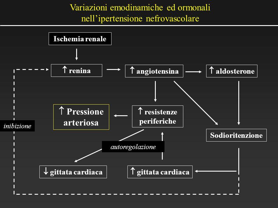 Ischemia renale renina Sodioritenzione angiotensina gittata cardiaca aldosterone resistenze periferiche gittata cardiaca Pressione arteriosa autoregol