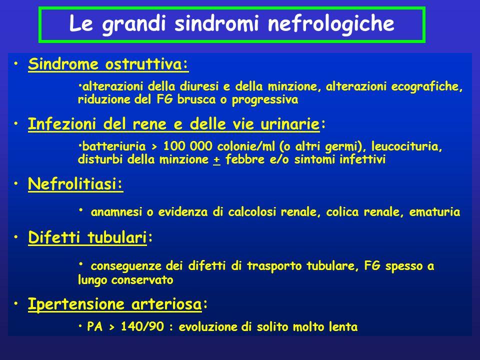 Sindrome ostruttiva: alterazioni della diuresi e della minzione, alterazioni ecografiche, riduzione del FG brusca o progressiva Infezioni del rene e d