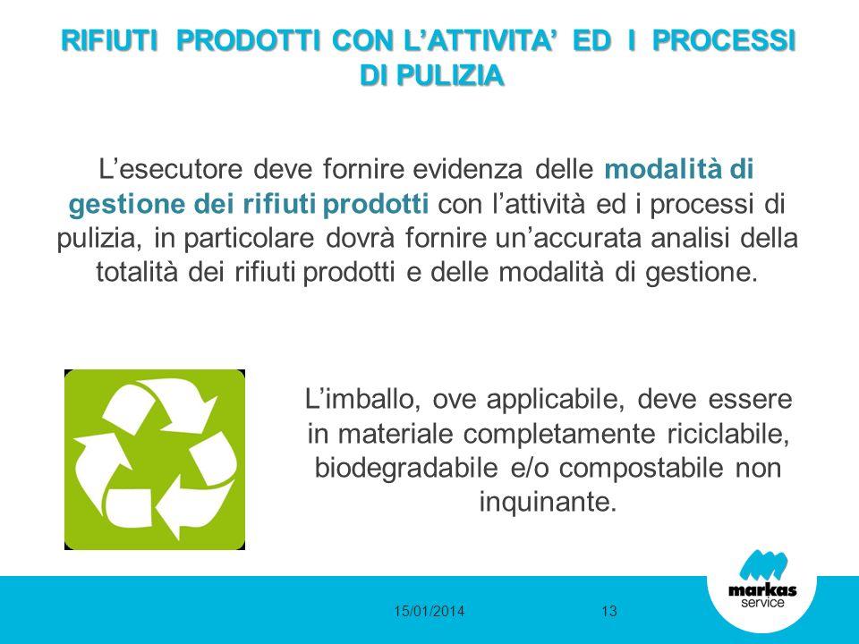 RIFIUTI PRODOTTI CON LATTIVITA ED I PROCESSI DI PULIZIA Lesecutore deve fornire evidenza delle modalità di gestione dei rifiuti prodotti con lattività