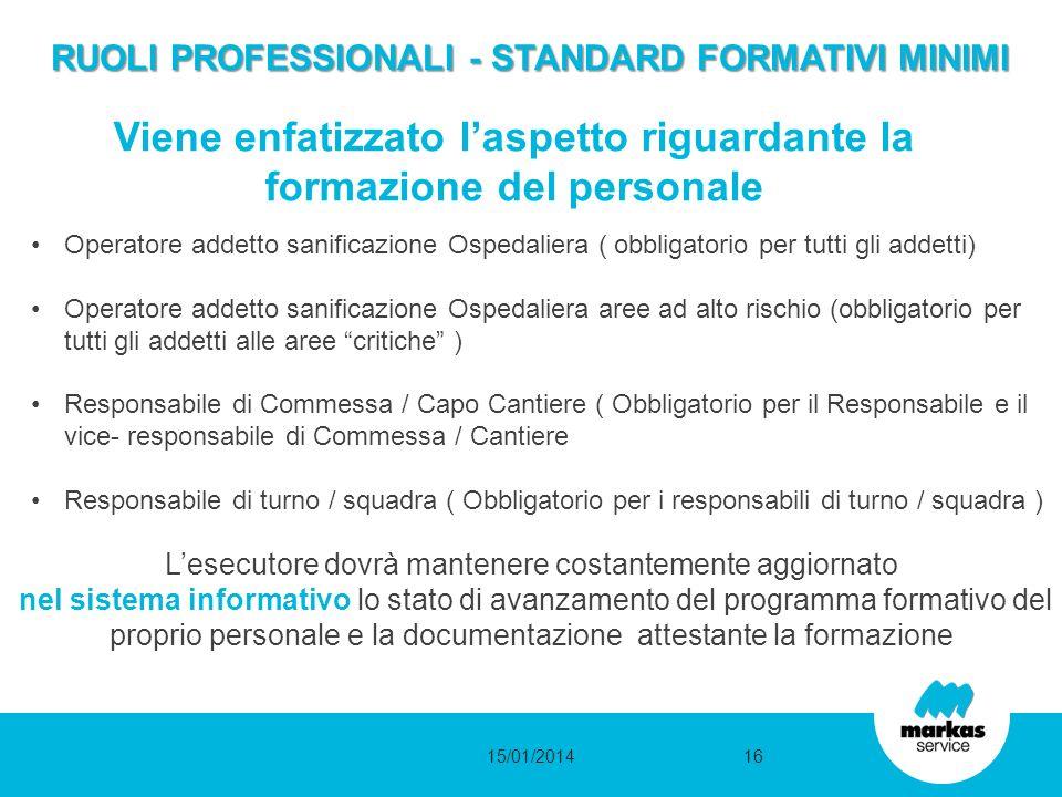 RUOLI PROFESSIONALI - STANDARD FORMATIVI MINIMI RUOLI PROFESSIONALI - STANDARD FORMATIVI MINIMI Operatore addetto sanificazione Ospedaliera ( obbligat