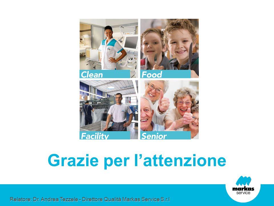 Grazie per lattenzione Relatore: Dr. Andrea Tezzele - Direttore Qualità Markas Service S.r.l