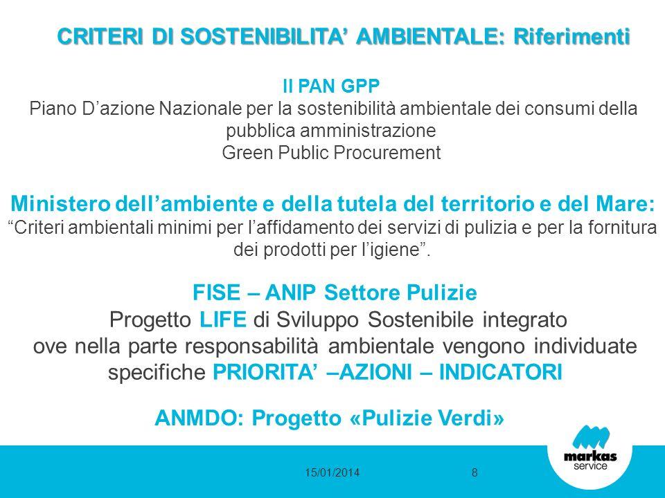 CRITERI DI SOSTENIBILITA AMBIENTALE: Riferimenti Il PAN GPP Piano Dazione Nazionale per la sostenibilità ambientale dei consumi della pubblica amminis
