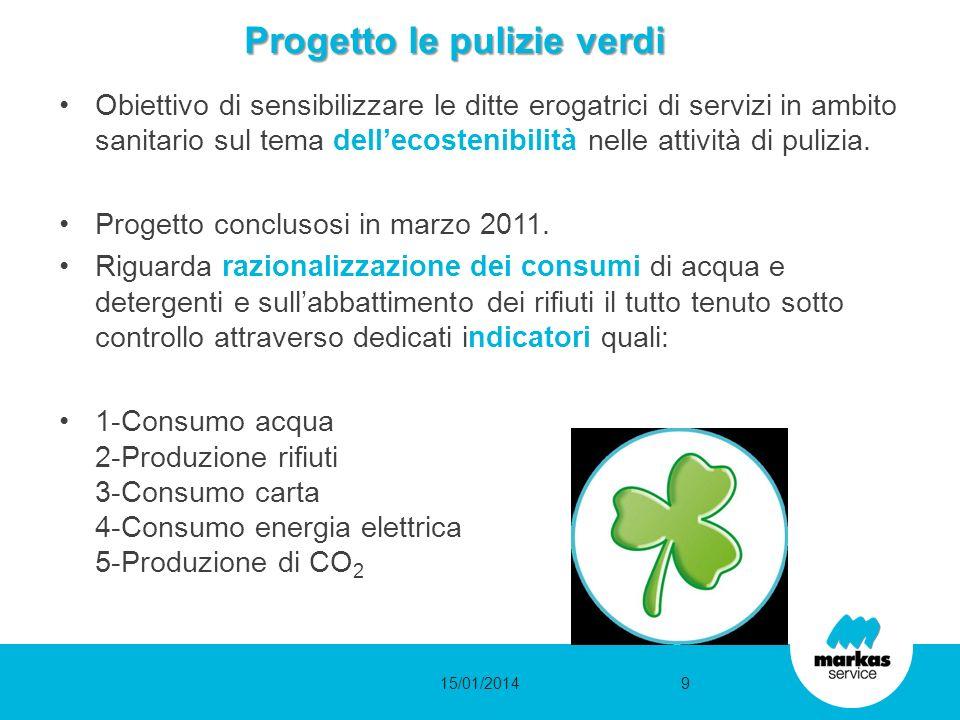 Progetto le pulizie verdi Obiettivo di sensibilizzare le ditte erogatrici di servizi in ambito sanitario sul tema dellecostenibilità nelle attività di