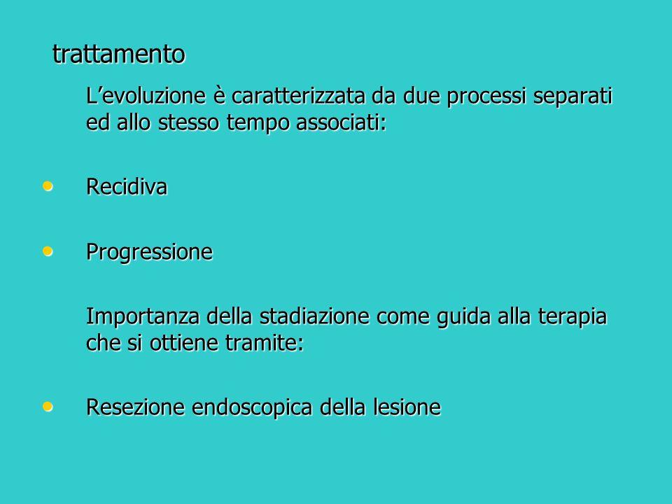 trattamento Levoluzione è caratterizzata da due processi separati ed allo stesso tempo associati: Recidiva Recidiva Progressione Progressione Importan
