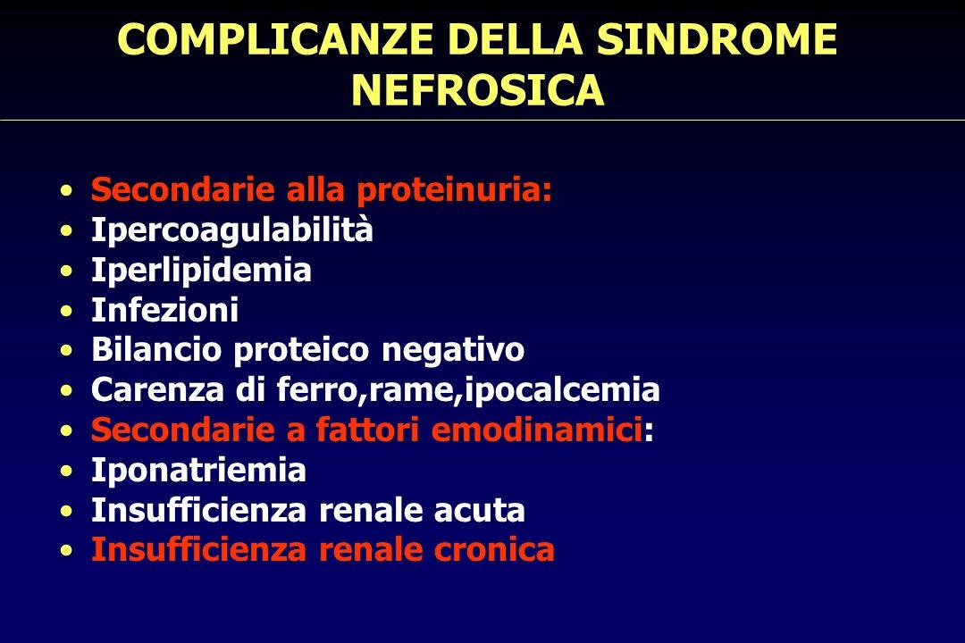 PREVALENZA DI TROMBOSI VENOSA PROFONDA IN PAZIENTI CON SINDROME NEFROSICA NTotal% DopplerAndrassey et al (1980)21 8425 ClinicaIlach (1982) 31182.5 Pohl (1984) 3 595.5 Cameron (1988)11 9012 Cameron (2000) 12 1916 81% venosa20% arteriosa