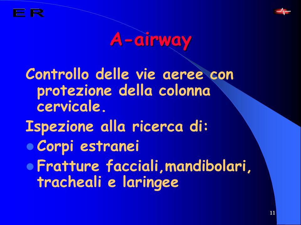 11 A-airway Controllo delle vie aeree con protezione della colonna cervicale. Ispezione alla ricerca di: Corpi estranei Fratture facciali,mandibolari,