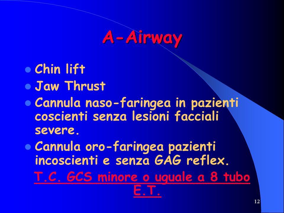 12 A-Airway Chin lift Jaw Thrust Cannula naso-faringea in pazienti coscienti senza lesioni facciali severe. Cannula oro-faringea pazienti incoscienti