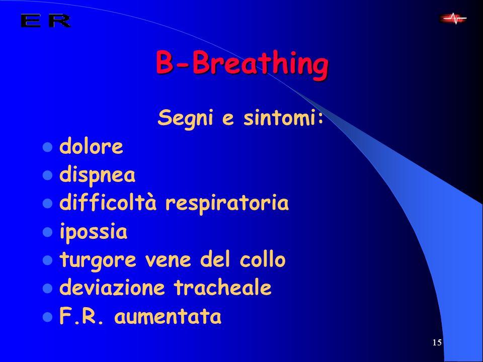 15 B-Breathing Segni e sintomi: dolore dispnea difficoltà respiratoria ipossia turgore vene del collo deviazione tracheale F.R. aumentata