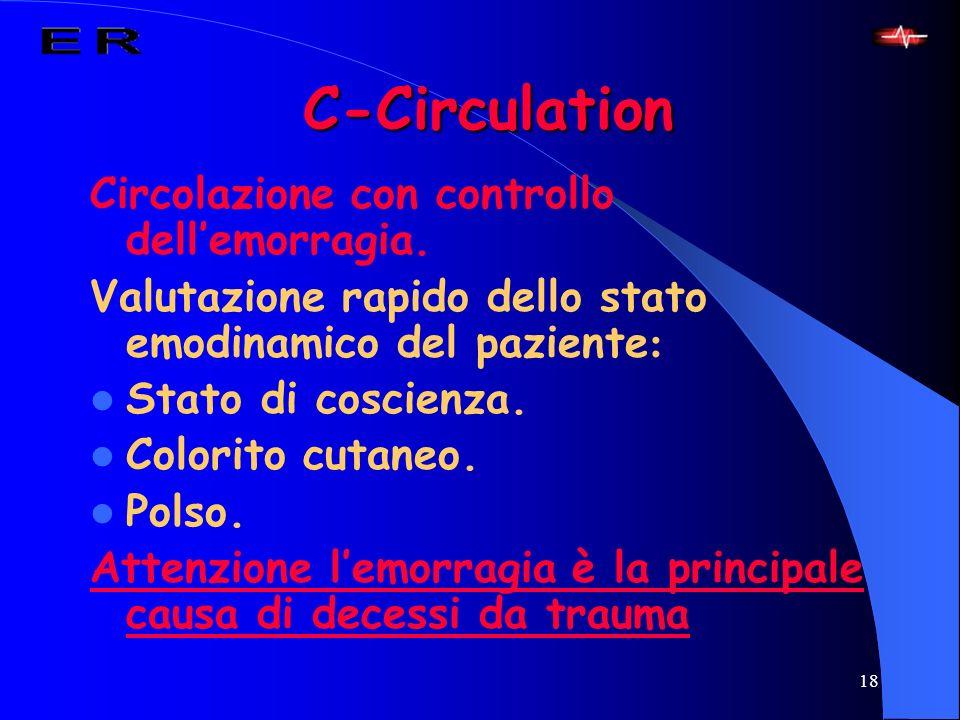 18 C-Circulation Circolazione con controllo dellemorragia. Valutazione rapido dello stato emodinamico del paziente : Stato di coscienza. Colorito cuta