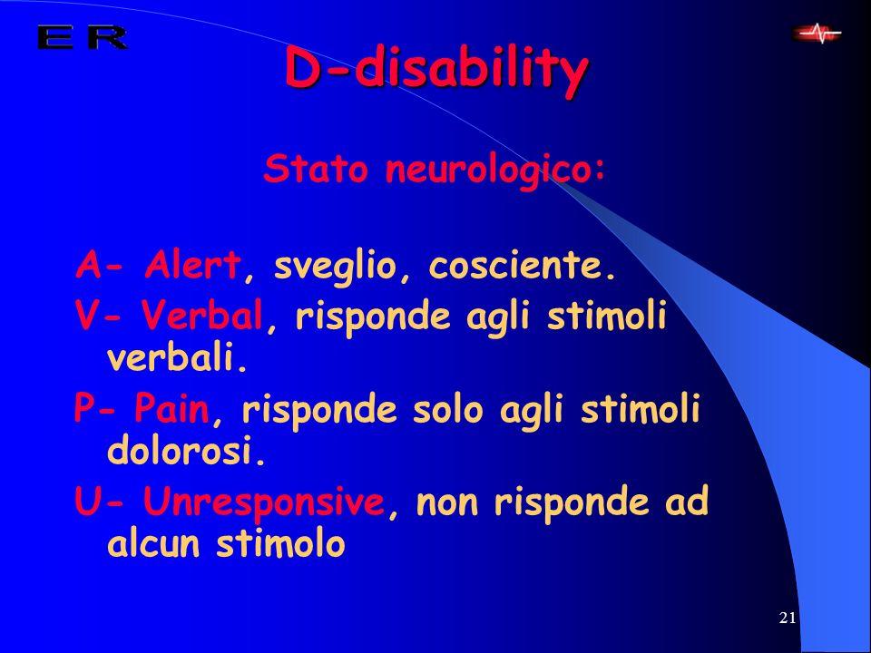 21 D-disability Stato neurologico: A- Alert, sveglio, cosciente. V- Verbal, risponde agli stimoli verbali. P- Pain, risponde solo agli stimoli doloros