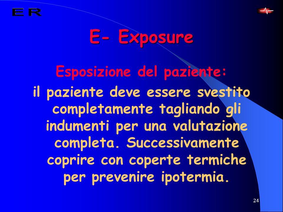 24 E- Exposure Esposizione del paziente: il paziente deve essere svestito completamente tagliando gli indumenti per una valutazione completa. Successi