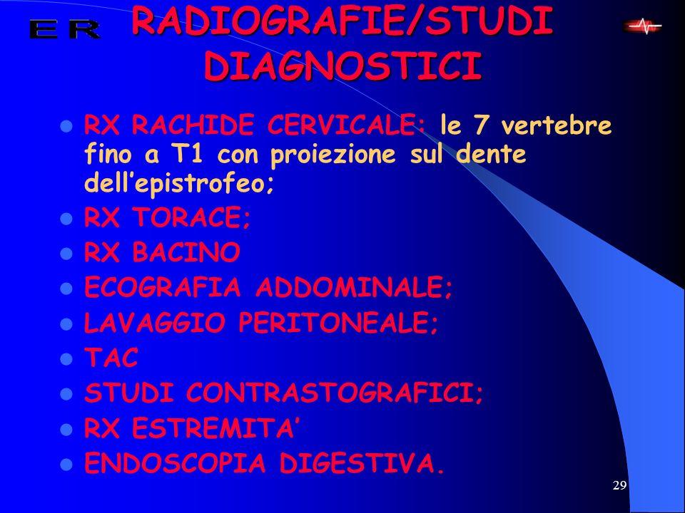 29 RADIOGRAFIE/STUDI DIAGNOSTICI RX RACHIDE CERVICALE: le 7 vertebre fino a T1 con proiezione sul dente dellepistrofeo; RX TORACE; RX BACINO ECOGRAFIA