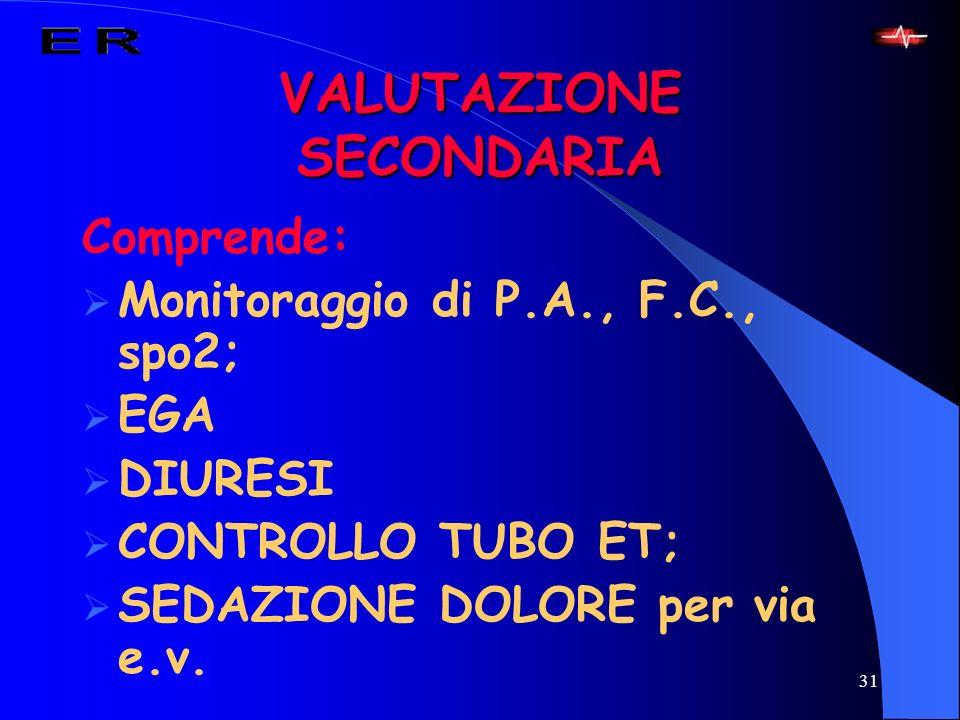 31 VALUTAZIONE SECONDARIA Comprende: Monitoraggio di P.A., F.C., spo2; EGA DIURESI CONTROLLO TUBO ET; SEDAZIONE DOLORE per via e.v.