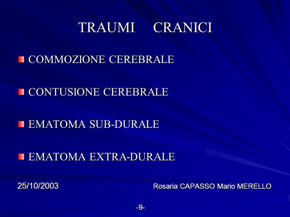 TRAUMI CRANICI COMMOZIONE CEREBRALE CONTUSIONE CEREBRALE EMATOMA SUB-DURALE EMATOMA EXTRA-DURALE 25/10/2003 Rosaria CAPASSO Mario MERELLO -9- -9-