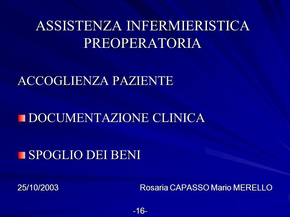 ASSISTENZA INFERMIERISTICA PREOPERATORIA ACCOGLIENZA PAZIENTE DOCUMENTAZIONE CLINICA SPOGLIO DEI BENI 25/10/2003 Rosaria CAPASSO Mario MERELLO -16- -1