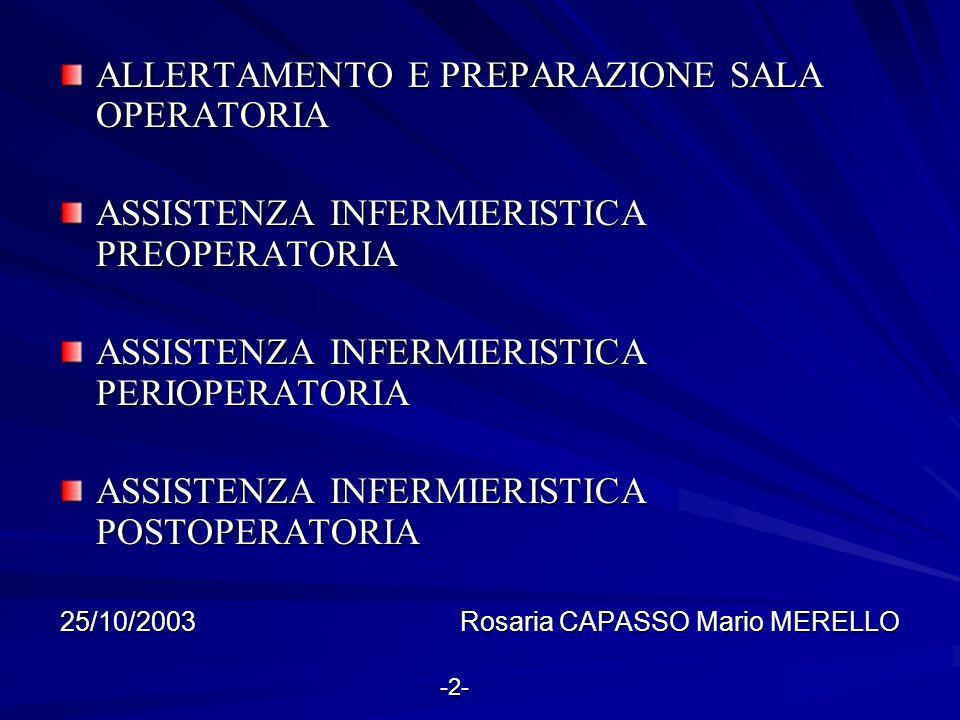 ALLERTAMENTO E PREPARAZIONE SALA OPERATORIA ASSISTENZA INFERMIERISTICA PREOPERATORIA ASSISTENZA INFERMIERISTICA PERIOPERATORIA ASSISTENZA INFERMIERIST
